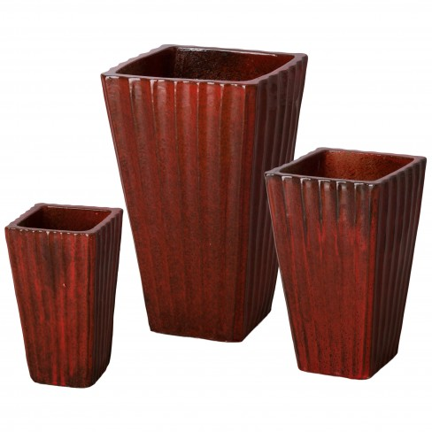 Fluted Square Ceramic Planters
