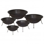 Set of 5 Iron Pans with Stands and Grates