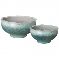 Set of 2 Scallop Lotus Bowls