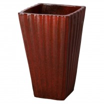 15 in. Fluted Square Ceramic Planter
