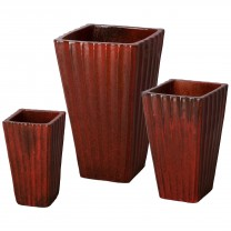 Set of 3 Fluted Square Ceramic Planters