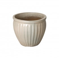 12 in. Round Ridge Ceramic Planter