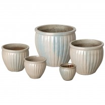 Set of 5 Round Ridge Ceramic Planters