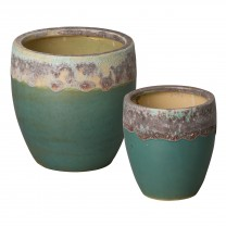 Set of 2 Round Ceramic Planters