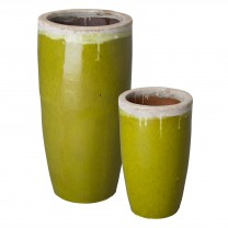 Set of 2 Tall Round Ceramic Planters
