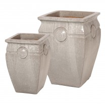 Set of 2 Tall Medallion Planters