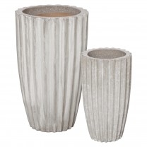 Set of 2 Tall Round Ridge Pots