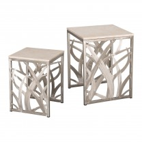 Set of 2 Square Seaweed Stools/Tables