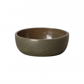 15 in. Dia Round Shallow Ceramic Planter