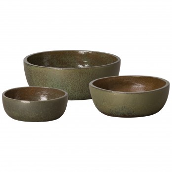 Set of 3 Round Shallow Ceramic Planters