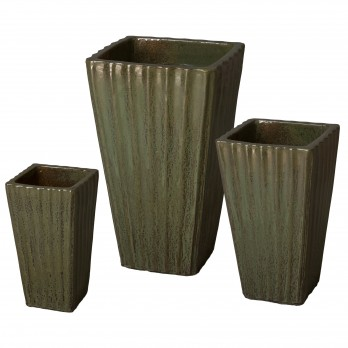 Set of 3 Square Ceramic Planters