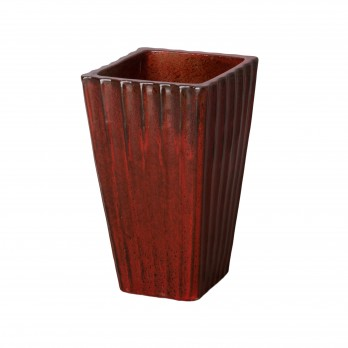 13 in. Fluted Square Ceramic Planter