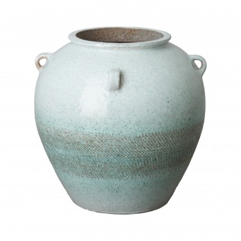 19 in. Four Handle Wide Ceramic Urn