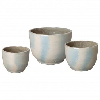 Set of 3 Round Ceramic Planters