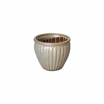 7 in. Round Ridge Ceramic Planter