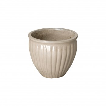 11 in. Round Ridge Ceramic Planter