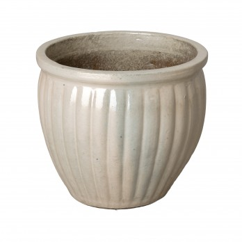 14 in. Round Ridge Ceramic Planter