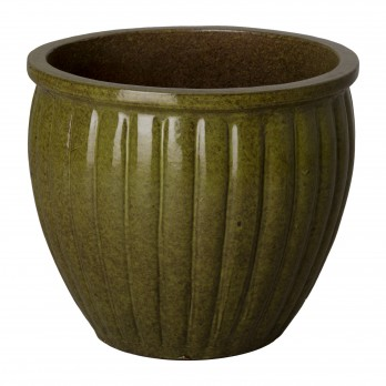 16 in. Round Ridge Ceramic Planter