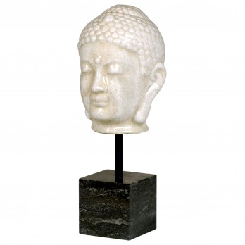 Buddha Head on Marble Stand