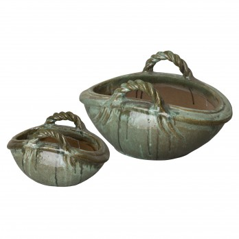 Set of 2 Two Handle Basket Planters