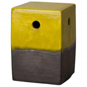 18 in. Square Two-Tone Ceramic Garden Stool/Table