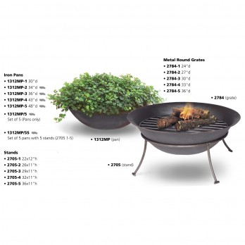 Iron Pans with Stands and Grates