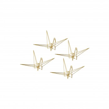 Set of 4 Small Metal Origami Cranes