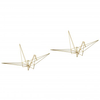 Set of 2 Large Metal Origami Cranes