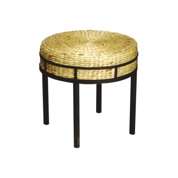 Round Stool with Hyacinth Cushion