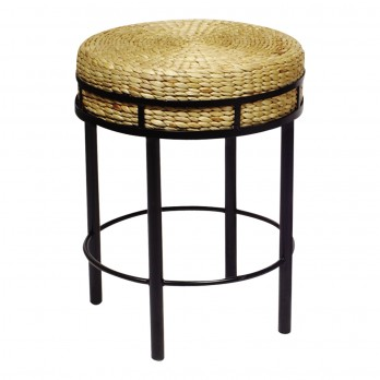 Counter Stool with Hyacinth Cushion
