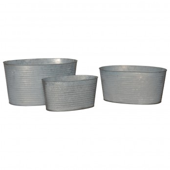 Set of 3 Oval Galvanized Zinc Tub