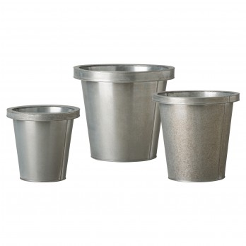 Set of 3 Round Galvanized Zinc Pots